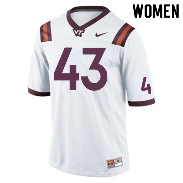 Women #43 Xavier Burke Virginia Tech Hokies College Football Jerseys Sale-Maroon